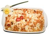 Gabelspaghettiauflauf mit Rindfleisch und Schafskäse